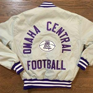 Vtg 80's Satin snap front jacket Omaha Central